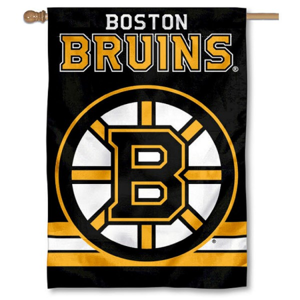 NHL Boston Bruins Two Sided House Banner is screen printed with Boston Bruins logos, is made of 2-ply 100% polyester, and is two sided and double sided. Our banners measure 28x40 inches and hang vertically with a top pole sleeve to insert your banner pole or flagpole.