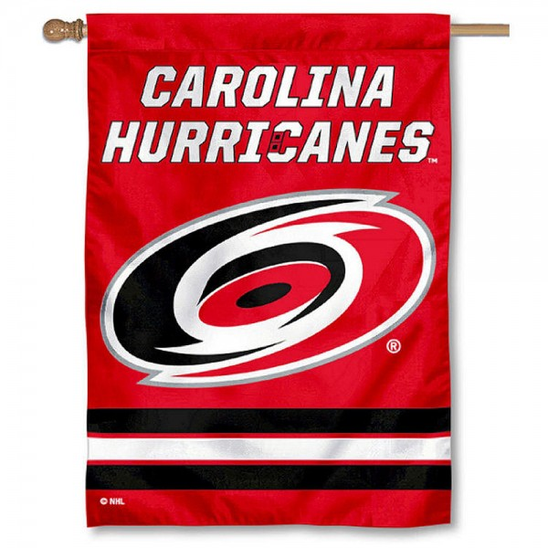 NHL Carolina Hurricanes Two Sided House Banner is screen printed with Carolina Hurricanes logos, is made of 2-ply 100% polyester, and is two sided and double sided. Our banners measure 28x40 inches and hang vertically with a top pole sleeve to insert your banner pole or flagpole.