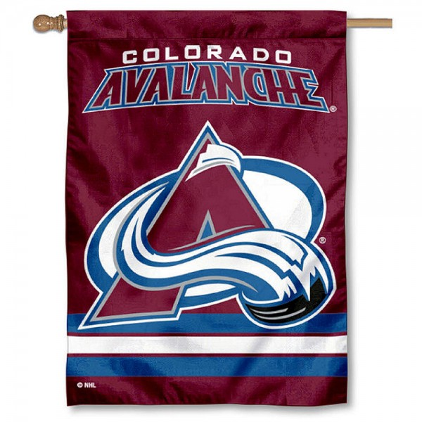 NHL Colorado Avalanche Two Sided House Banner is screen printed with Colorado Avalanche logos, is made of 2-ply 100% polyester, and is two sided and double sided. Our banners measure 28x40 inches and hang vertically with a top pole sleeve to insert your banner pole or flagpole.