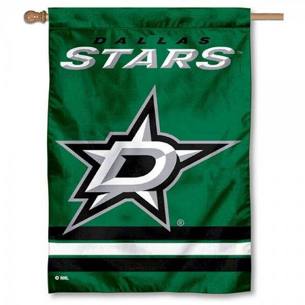 NHL Dallas Stars Two Sided House Banner is screen printed with Dallas Stars logos, is made of 2-ply 100% polyester, and is two sided and double sided. Our banners measure 28x40 inches and hang vertically with a top pole sleeve to insert your banner pole or flagpole.
