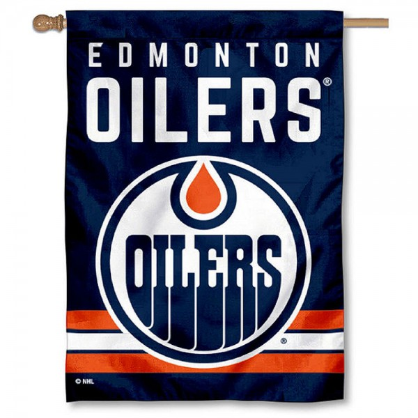 NHL Edmonton Oilers Two Sided House Banner is screen printed with Edmonton Oilers logos, is made of 2-ply 100% polyester, and is two sided and double sided. Our banners measure 28x40 inches and hang vertically with a top pole sleeve to insert your banner pole or flagpole.