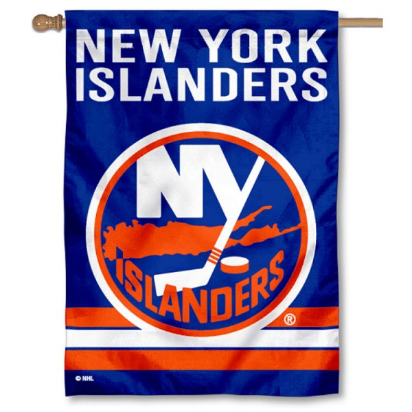 NHL New York Islanders Two Sided House Banner is screen printed with New York Islanders logos, is made of 2-ply 100% polyester, and is two sided and double sided. Our banners measure 28x40 inches and hang vertically with a top pole sleeve to insert your banner pole or flagpole.