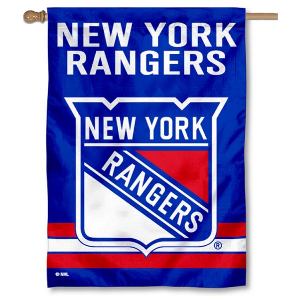 NHL New York Rangers Two Sided House Banner is screen printed with New York Rangers logos, is made of 2-ply 100% polyester, and is two sided and double sided. Our banners measure 28x40 inches and hang vertically with a top pole sleeve to insert your banner pole or flagpole.
