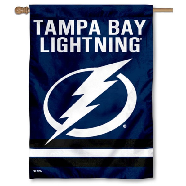 NHL Tampa Bay Lightning Two Sided House Banner is screen printed with Tampa Bay Lightning logos, is made of 2-ply 100% polyester, and is two sided and double sided. Our banners measure 28x40 inches and hang vertically with a top pole sleeve to insert your banner pole or flagpole.