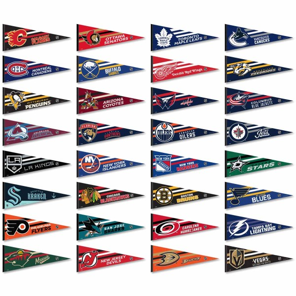 Our NHL Team Pennant Set includes all 30 NHL teams. Each licensed logo pennant measures a full sized 12x30 inches and our NHL Team Pennant Set and Collection is made of felt and is single-sided imprinted.