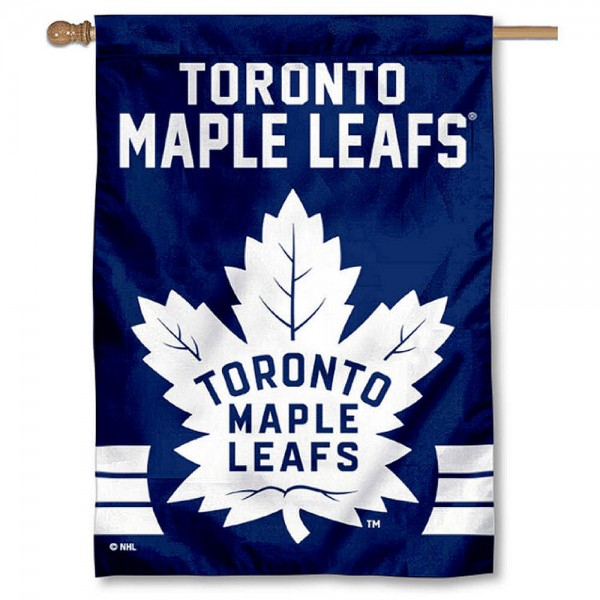 NHL Toronto Maple Leafs Two Sided House Banner is screen printed with Toronto Maple Leafs logos, is made of 2-ply 100% polyester, and is two sided and double sided. Our banners measure 28x40 inches and hang vertically with a top pole sleeve to insert your banner pole or flagpole.