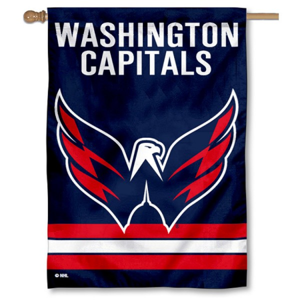 NHL Washington Capitals Two Sided House Banner is screen printed with Washington Capitals logos, is made of 2-ply 100% polyester, and is two sided and double sided. Our banners measure 28x40 inches and hang vertically with a top pole sleeve to insert your banner pole or flagpole.