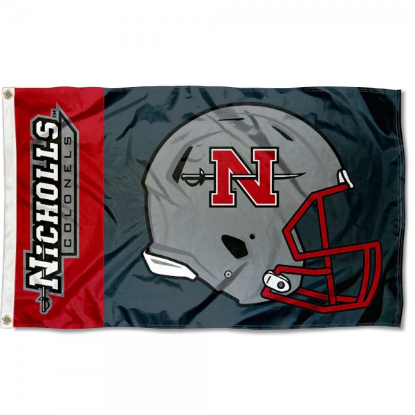 Nicholls State Colonels Football Helmet Flag measures 3x5 feet, is made of 100% polyester, offers quadruple stitched flyends, has two metal grommets, and offers screen printed NCAA team logos and insignias. Our Nicholls State Colonels Football Helmet Flag is officially licensed by the selected university and NCAA.
