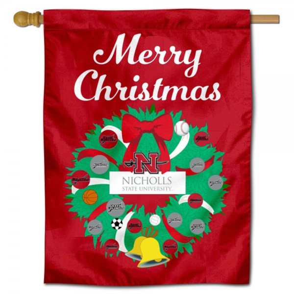 Nicholls State Colonels Happy Holidays Banner Flag measures 30x40 inches, is made of poly, has a top hanging sleeve, and offers dye sublimated Nicholls State Colonels logos. This Decorative Nicholls State Colonels Happy Holidays Banner Flag is officially licensed by the NCAA.