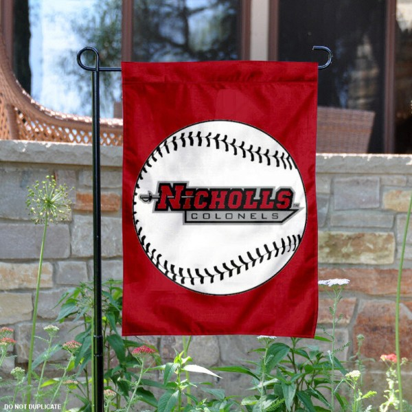 Nicholls State University Baseball Garden Flag is 13x18 inches in size, is made of 2-layer polyester, screen printed Nicholls State University Baseball athletic logos and lettering. Available with Express Shipping, Our Nicholls State University Baseball Garden Flag is officially licensed and approved by Nicholls State University Baseball and the NCAA.