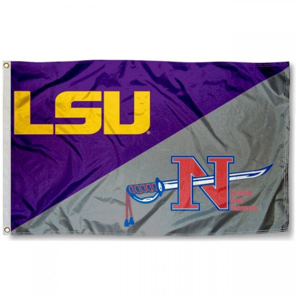 Nicholls State vs. LSU House Divided 3x5 Flag sizes at 3x5 feet, is made of 100% polyester, has quadruple-stitched fly ends, and the university logos are screen printed into the Nicholls State vs. LSU House Divided 3x5 Flag. The Nicholls State vs. LSU House Divided 3x5 Flag is approved by the NCAA and the selected universities.