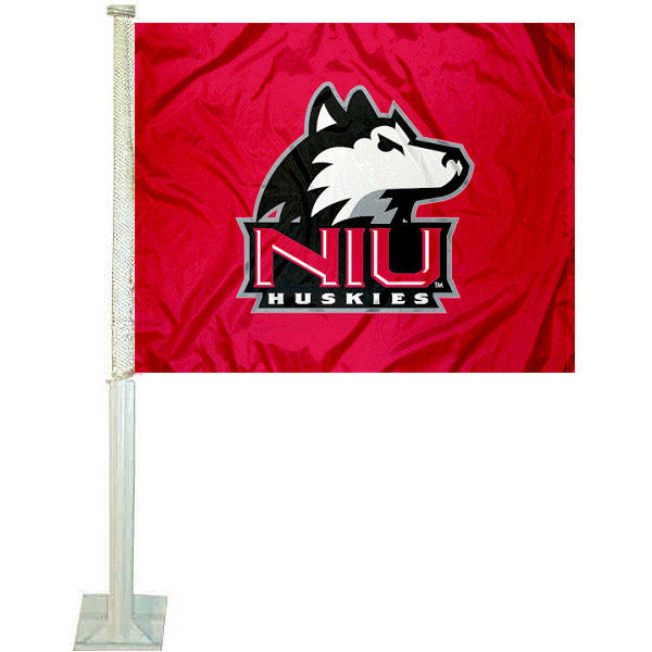 NIU Car Flag measures 12x15 inches, is constructed of sturdy 2 ply polyester, and has dye sublimated school logos which are readable and viewable correctly on both sides. NIU Car Flag is officially licensed by the NCAA and selected university.