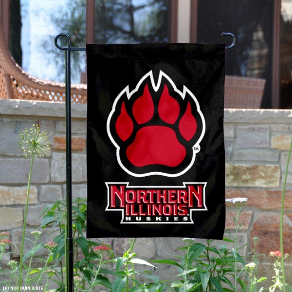 NIU Huskies Black Paw Garden Flag