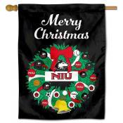 NIU Huskies Happy Holidays Banner Flag