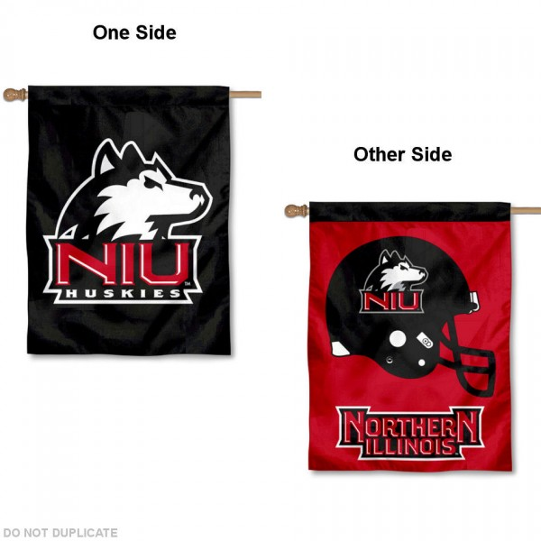 NIU Huskies Two Sided House Flag is a vertical house flag which measures 30x40 inches, is made of 2 ply 100% polyester, offers dye sublimated NCAA team insignias, and has a top pole sleeve to hang vertically. Our NIU Huskies Two Sided House Flag is officially licensed by the selected university and the NCAA.