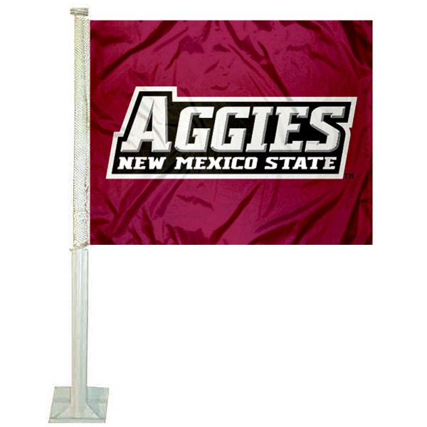 NMSU Aggies Car Window Flag measures 12x15 inches, is constructed of sturdy 2 ply polyester, and has screen printed school logos which are readable and viewable correctly on both sides. NMSU Aggies Car Window Flag is officially licensed by the NCAA and selected university.
