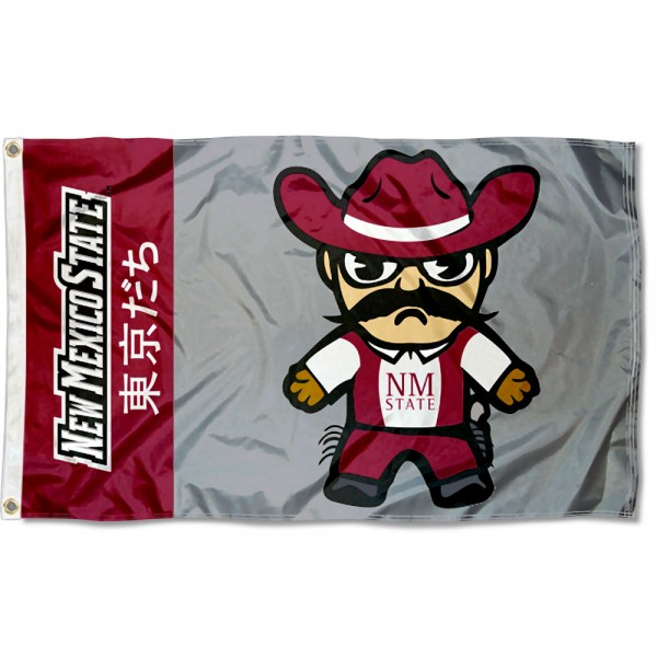 NMSU Aggies Kawaii Tokyo Dachi Yuru Kyara Flag measures 3x5 feet, is made of 100% polyester, offers quadruple stitched flyends, has two metal grommets, and offers screen printed NCAA team logos and insignias. Our NMSU Aggies Kawaii Tokyo Dachi Yuru Kyara Flag is officially licensed by the selected university and NCAA.