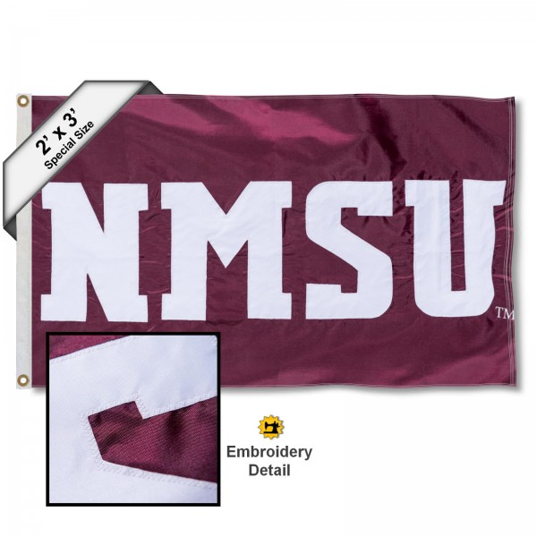NMSU Small 2'x3' Flag measures 2x3 feet, is made of 100% nylon, offers quadruple stitched flyends, has two brass grommets, and offers embroidered NMSU logos, letters, and insignias. Our NMSU Small 2'x3' Flag is Officially Licensed by the selected university.