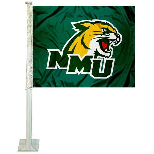 NMU Wildcats Logo Car Flag measures 12x15 inches, is constructed of sturdy 2 ply polyester, and has screen printed school logos which are readable and viewable correctly on both sides. NMU Wildcats Logo Car Flag is officially licensed by the NCAA and selected university.