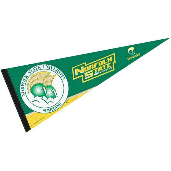 Norfolk State Spartans Decorations consists of our full size pennant which measures 12x30 inches, is constructed of felt, is single sided imprinted, and offers a pennant sleeve for insertion of a pennant stick, if desired. This Norfolk State Spartans Decorations is officially licensed by the selected university and the NCAA