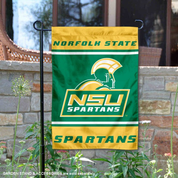 Norfolk State Spartans Garden Flag is 13x18 inches in size, is made of 2-layer polyester, screen printed logos and lettering. Available with Same Day Express Shipping, Our Norfolk State Spartans Garden Flag is officially licensed and approved by the NCAA.