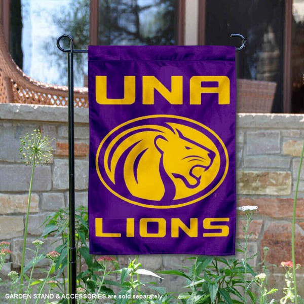 North Alabama Lions Garden Flag is 13x18 inches in size, is made of 2-layer polyester, screen printed university athletic logos and lettering, and is readable and viewable correctly on both sides. Available same day shipping, our North Alabama Lions Garden Flag is officially licensed and approved by the university and the NCAA.