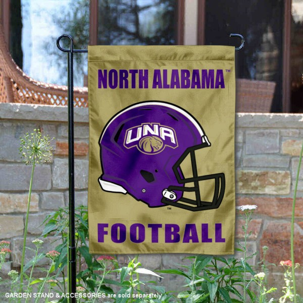 North Alabama Lions Helmet Yard Garden Flag is 13x18 inches in size, is made of 2-layer polyester with Liner, screen printed university athletic logos and lettering, and is readable and viewable correctly on both sides. Available same day shipping, our North Alabama Lions Helmet Yard Garden Flag is officially licensed and approved by the university and the NCAA.