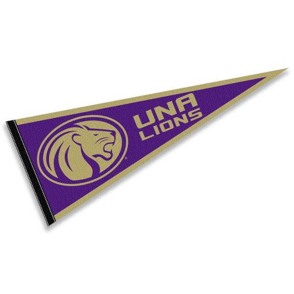 North Alabama Lions Pennant consists of our full size sports pennant which measures 12x30 inches, is constructed of felt, is single sided imprinted, and offers a pennant sleeve for insertion of a pennant stick, if desired. This North Alabama Lions Pennant Decorations is Officially Licensed by the selected university and the NCAA.