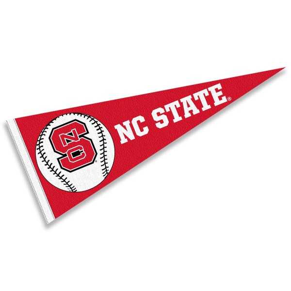 North Carolina State University Baseball Pennant consists of our full size sports pennant which measures 12x30 inches, is constructed of felt, is single sided imprinted, and offers a pennant sleeve for insertion of a pennant stick, if desired. This North Carolina State Wolfpack Pennant Decorations is Officially Licensed by the selected university and the NCAA.