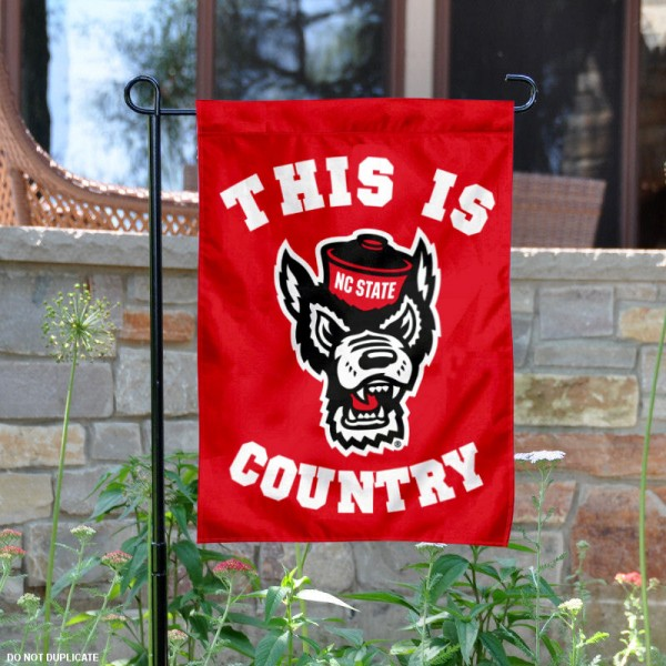 North Carolina State University Country Garden Flag is 13x18 inches in size, is made of 2-layer polyester, screen printed university athletic logos and lettering, and is readable and viewable correctly on both sides. Available same day shipping, our North Carolina State University Country Garden Flag is officially licensed and approved by the university and the NCAA.