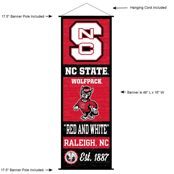 "This ""ready to hang"" North Carolina State University Decor and Banner is made of polyester material, measures a large 17.5"" x 48"", offers screen printed athletic logos, and includes both top and bottom 3/4"" diameter plastic banner poles and hanging cord. Our North Carolina State University D�cor and Banner is Officially Licensed by the selected college and NCAA."