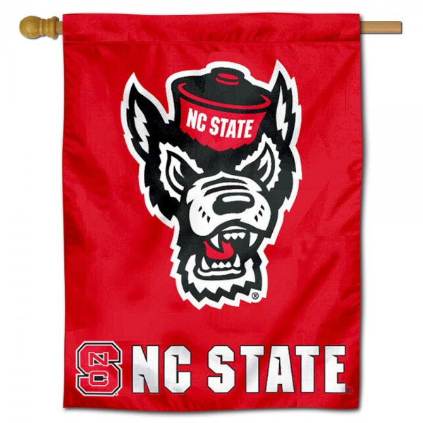 "North Carolina State University Decorative Flag is constructed of polyester material, is a vertical house flag, measures 30""x40"", offers screen printed athletic insignias, and has a top pole sleeve to hang vertically. Our North Carolina State University Decorative Flag is Officially Licensed by North Carolina State University and NCAA."