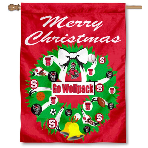 North Carolina State University Holiday Flag is a decorative house flag, 30x40 inches, made of 100% polyester, Holiday NCAA team insignias, and has a top pole sleeve to hang vertically. Our North Carolina State University Holiday Flag is officially licensed by the selected university and the NCAA.