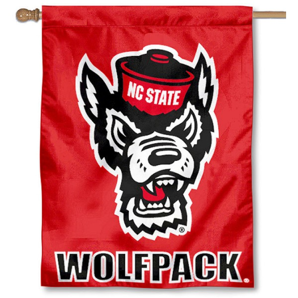 North Carolina State University House Flag is a vertical house flag which measures 30x40 inches, is made of 2 ply 100% polyester, offers dye sublimated NCAA team insignias, and has a top pole sleeve to hang vertically. Our North Carolina State University House Flag is officially licensed by the selected university and the NCAA