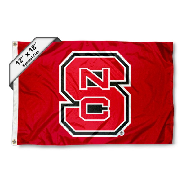 North Carolina State University Mini Flag is 12x18 inches, polyester, offers quadruple stitched flyends for durability, has two metal grommets, and is double sided. Our mini flags for North Carolina State University are licensed by the university and NCAA and can be used as a boat flag, motorcycle flag, golf cart flag, or ATV flag
