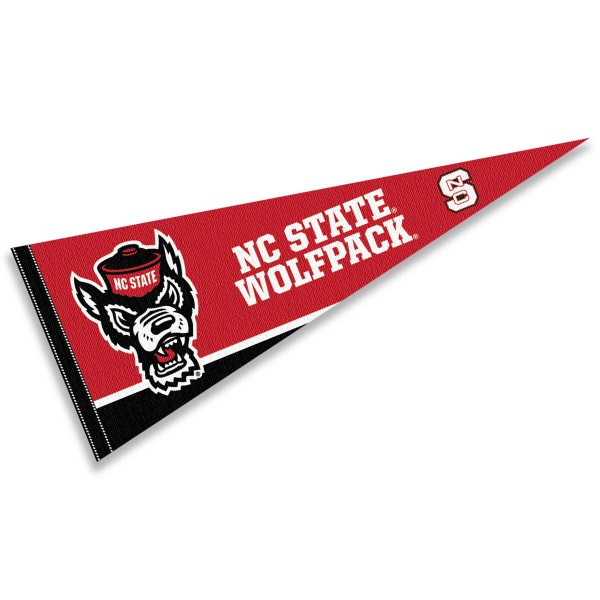 North Carolina State University Pennant consists of our full size sports pennant which measures 12x30 inches, is constructed of felt, is single sided imprinted, and offers a pennant sleeve for insertion of a pennant stick, if desired. This NC State Wolfpack Pennant Decorations is Officially Licensed by the selected university and the NCAA.