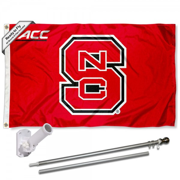 Our North Carolina State Wolfpack ACC Flag Pole and Bracket Kit includes the flag as shown and the recommended flagpole and flag bracket. The flag is made of polyester, has quad-stitched flyends, and the NCAA Licensed team logos are double sided screen printed. The flagpole and bracket are made of rust proof aluminum and includes all hardware so this kit is ready to install and fly.