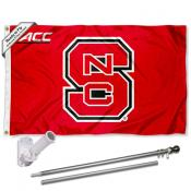 North Carolina State Wolfpack ACC Flag Pole and Bracket Kit
