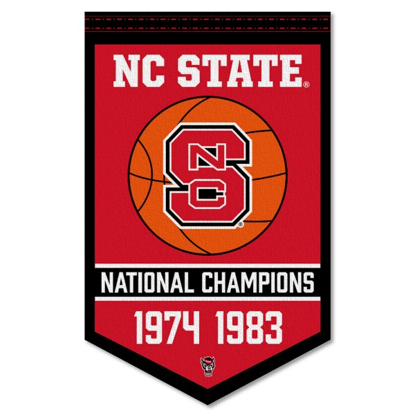 North Carolina State Wolfpack Basketball National Champions Banner consists of our sports dynasty year banner which measures 15x24 inches, is constructed of rigid felt, is single sided imprinted, and offers a pennant sleeve for insertion of a pennant stick, if desired. This sports banner is a unique collectible and keepsake of the legacy game and is Officially Licensed and University, School, and College Approved.