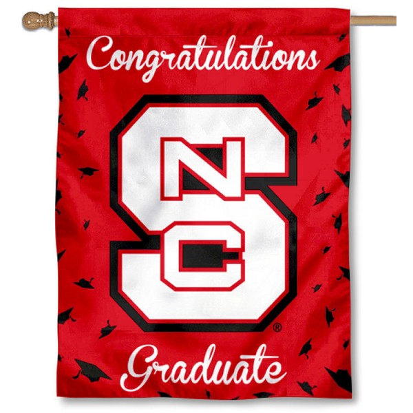 North Carolina State Wolfpack Congratulations Graduate Flag measures 30x40 inches, is made of poly, has a top hanging sleeve, and offers dye sublimated North Carolina State Wolfpack logos. This Decorative North Carolina State Wolfpack Congratulations Graduate House Flag is officially licensed by the NCAA.
