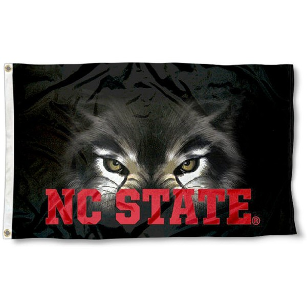 North Carolina State Wolfpack Eye Flag measures 3'x5', is made of 100% poly, has quadruple stitched sewing, two metal grommets, and has double sided Team University logos. Our North Carolina State Wolfpack 3x5 Flag is officially licensed by the selected university and the NCAA.