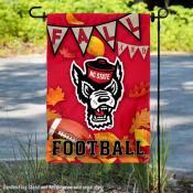 North Carolina State Wolfpack Fall Football Autumn Leaves Decorative Garden Flag