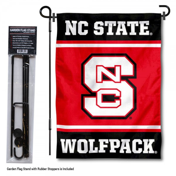 "North Carolina State Wolfpack Garden Flag and Pole Stand Holder kit includes our 13""x18"" garden banner which is made of 2 ply poly with liner and has screen printed licensed logos. Also, a 40""x17"" inch garden flag stand is included so your North Carolina State Wolfpack Garden Flag and Pole Stand Holder is ready to be displayed with no tools needed for setup. Fast Overnight Shipping is offered and the flag is Officially Licensed and Approved by the selected team."