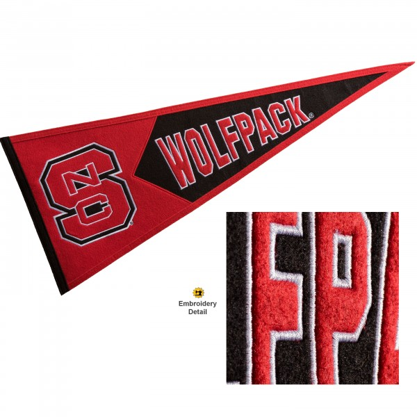 North Carolina State Wolfpack Genuine Wool Pennant consists of our full size 13x32 inch Winning Streak Sports wool college pennant. The logos, lettering and insignia is quality embroidered and appliqued, feature a alternate logo color header, and has sewn wool perimeter. This North Carolina State Wolfpack College Pennant Pennant is Officially Licensed and University Approved with Overnight Next Day Shipping.