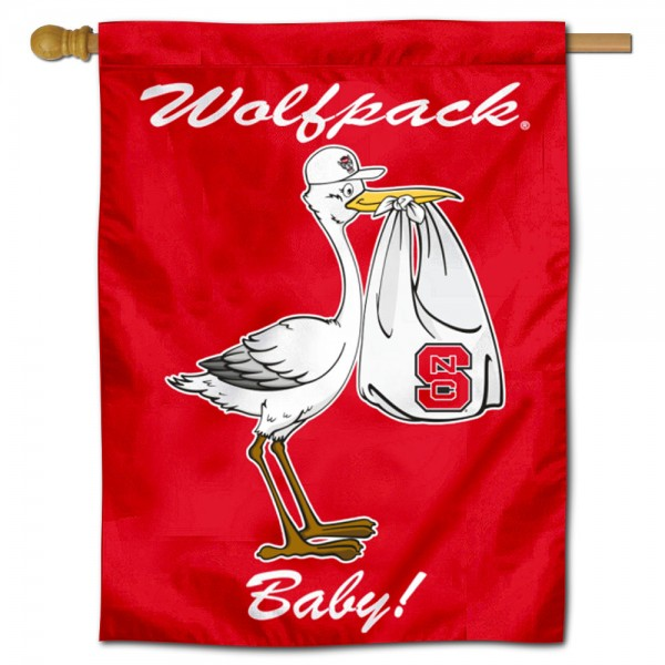 North Carolina State Wolfpack New Baby Flag measures 30x40 inches, is made of poly, has a top hanging sleeve, and offers dye sublimated North Carolina State Wolfpack logos. This Decorative North Carolina State Wolfpack New Baby House Flag is officially licensed by the NCAA.