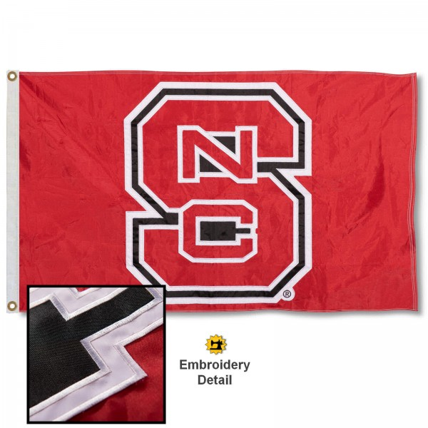 North Carolina State Wolfpack Nylon Embroidered Flag measures 3'x5', is made of 100% nylon, has quadruple flyends, two metal grommets, and has double sided appliqued and embroidered University logos. These North Carolina State Wolfpack 3x5 Flags are officially licensed by the selected university and the NCAA.