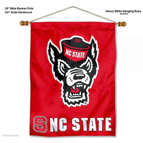 "North Carolina State Wolfpack Wall Banner is constructed of polyester material, measures a large 30""x40"", offers screen printed athletic logos, and includes a sturdy 3/4"" diameter and 36"" wide banner pole and hanging cord. Our North Carolina State Wolfpack Wall Banner is Officially Licensed by the selected college and NCAA."