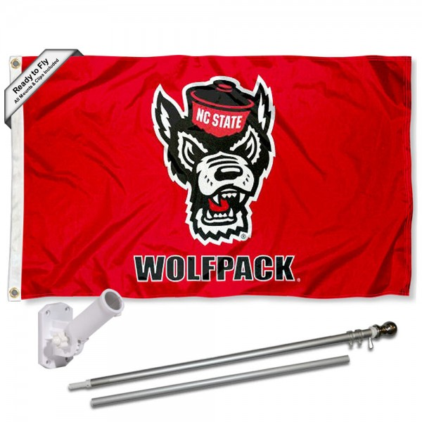 Our North Carolina State Wolfpack Wolf Logo Flag Pole and Bracket Kit includes the flag as shown and the recommended flagpole and flag bracket. The flag is made of polyester, has quad-stitched flyends, and the NCAA Licensed team logos are double sided screen printed. The flagpole and bracket are made of rust proof aluminum and includes all hardware so this kit is ready to install and fly.