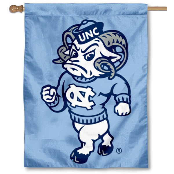 North Carolina Tar Heel House Flag is a vertical house flag which measures 30x40 inches, is made of 2 ply 100% polyester, offers dye sublimated NCAA team insignias, and has a top pole sleeve to hang vertically. Our University of North Carolina House Flag is officially licensed by the selected university and the NCAA