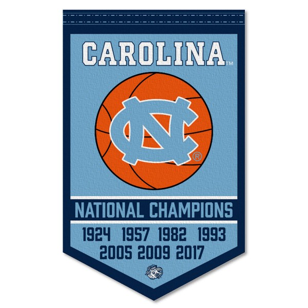 North Carolina Tar Heels Basketball National Champions Banner consists of our sports dynasty year banner which measures 15x24 inches, is constructed of rigid felt, is single sided imprinted, and offers a pennant sleeve for insertion of a pennant stick, if desired. This sports banner is a unique collectible and keepsake of the legacy game and is Officially Licensed and University, School, and College Approved.